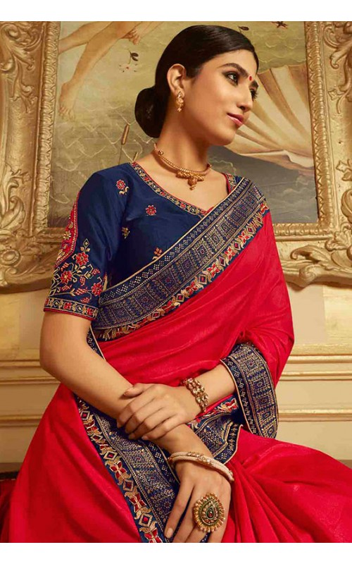 Red and Blue Designer Silk Saree