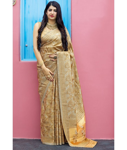 Beige Tanchoi Silk Wedding Wear Saree