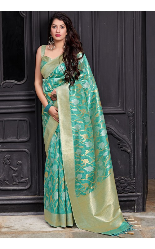 Aqua Blue Pure Banarasi Silk Saree