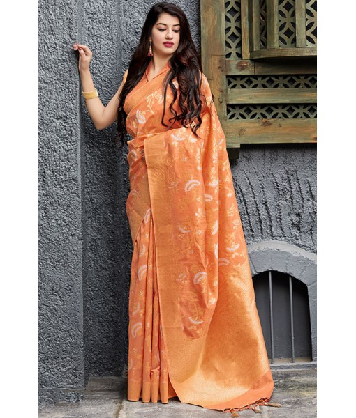 Orange Pure Banarasi Silk Saree