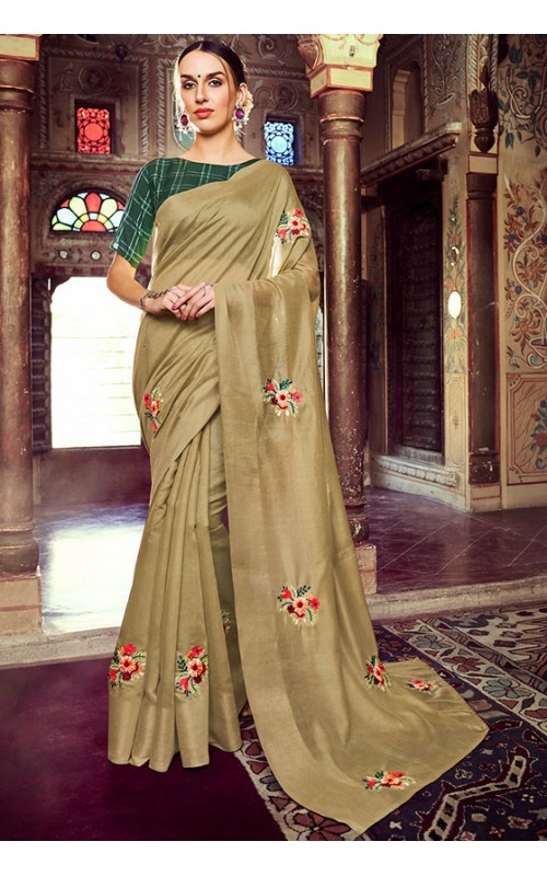 Beige Linen Zari Patta Party Wear Saree