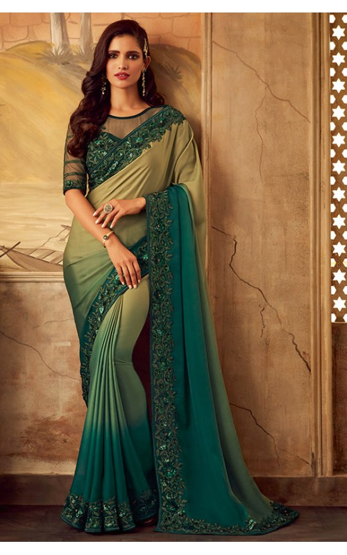 Bege and Green Heavy Designer Saree