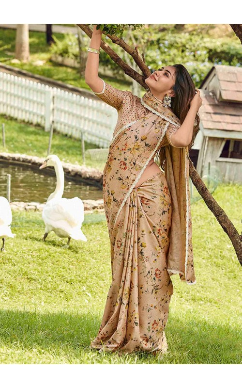 Beige Manipuri Silk Party Wear Saree