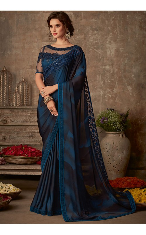 Black and Blue Silk Embroidered Saree