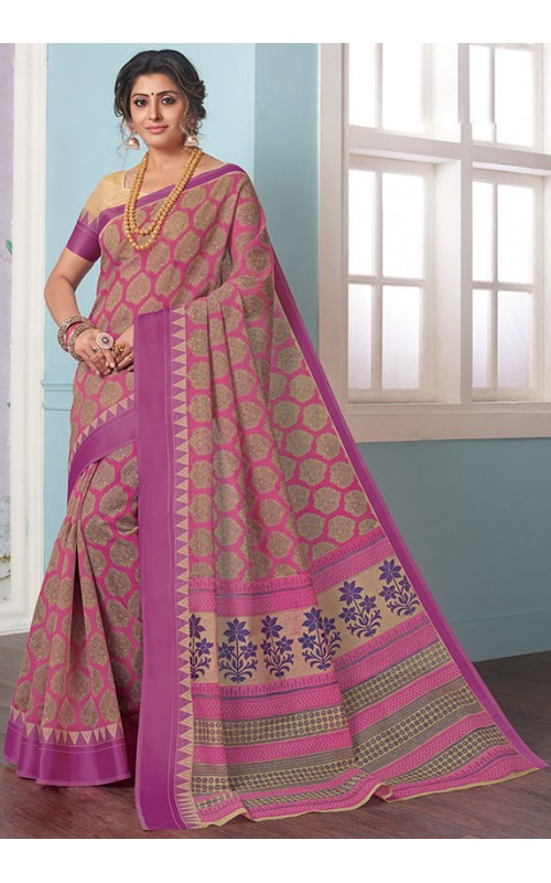 Beige and Magenta Gadhwal Cotton Casual Wear Saree