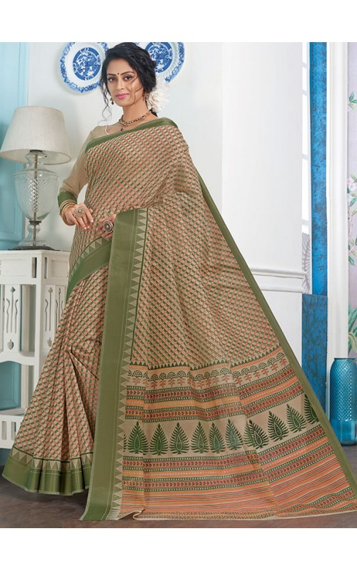Beige and Green Gadhwal Cotton Casual Wear Saree