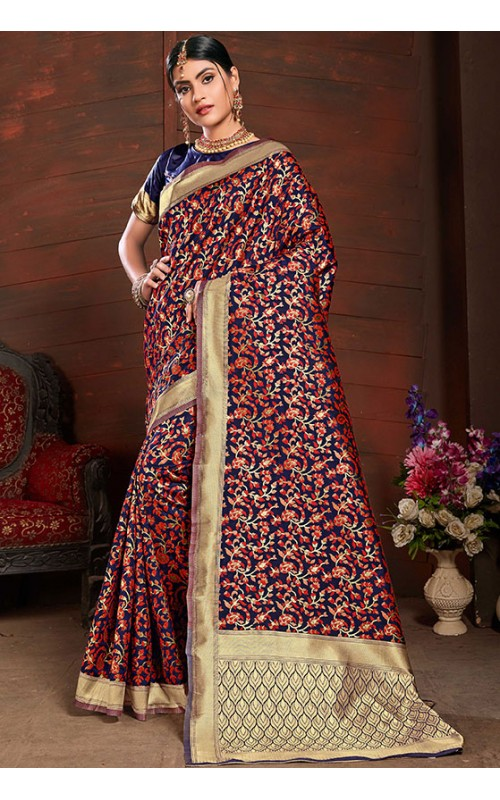 Navy Blue and Red Silk Saree