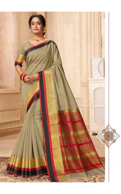 Beige Khadi Cotton Casual Saree