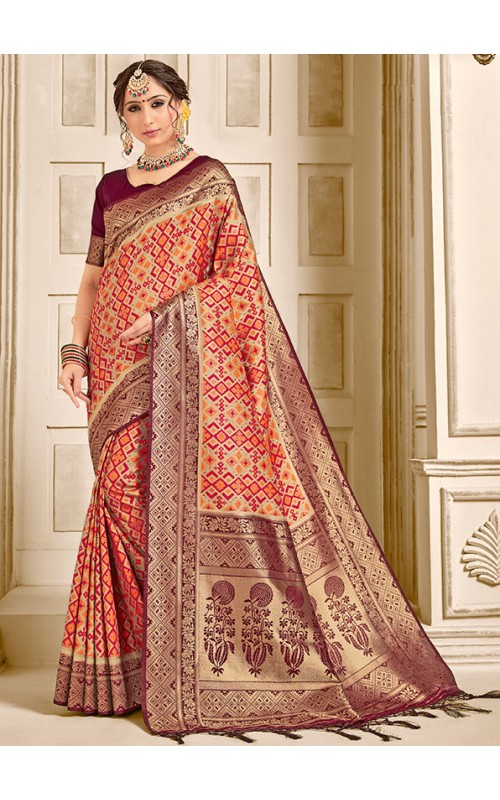 Beige and Red Pure Ikkat Silk Saree