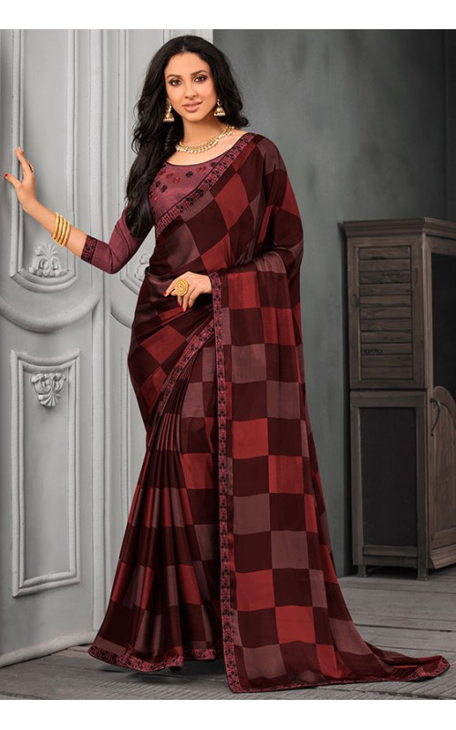 Brown Chiffon Saree with Embroidered Lace Border