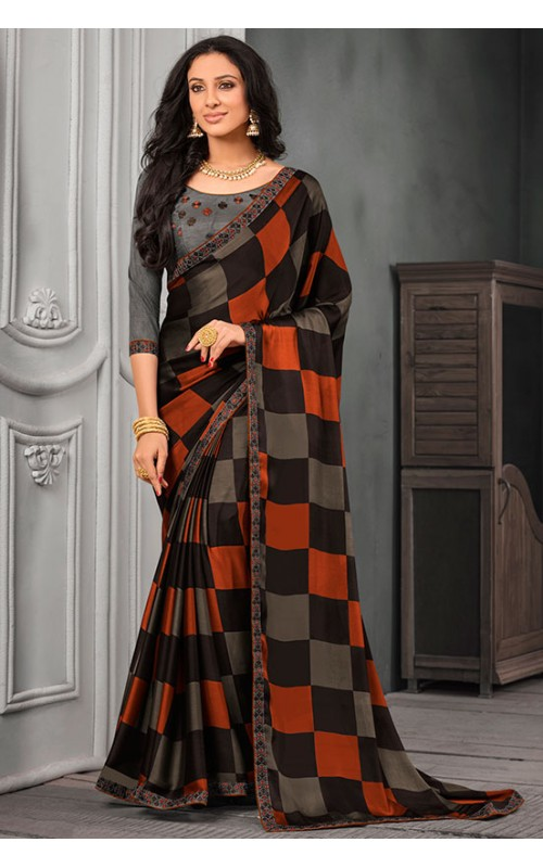 Black and Orange Chiffon Saree with Embroidered Lace Border