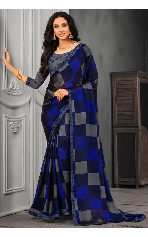Blue and Grey Chiffon Saree with Embroidered Lace Border