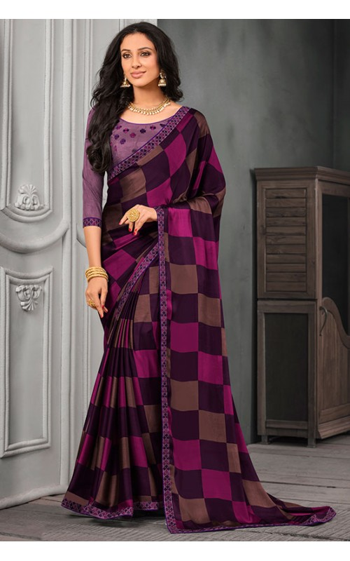 Burgundy and Magenta Chiffon Saree with Embroidered Lace Border