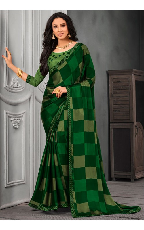 Green Chiffon Saree with Embroidered Lace Border
