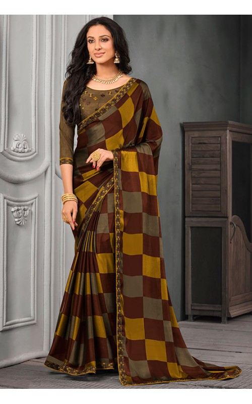 Brown and Yellow Chiffon Saree with Embroidered Lace Border
