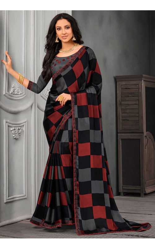 Black and Rust Chiffon Saree with Embroidered Lace Border