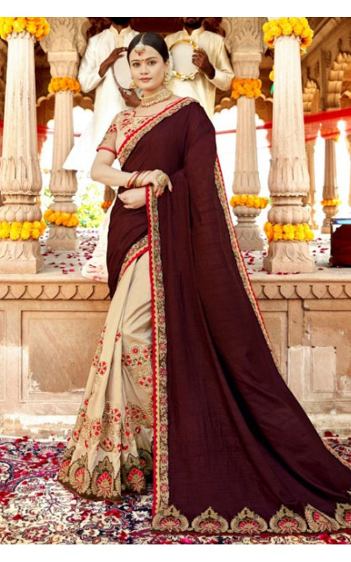 Beige and Maroon Sana Silk Saree with Embroidered Blouse
