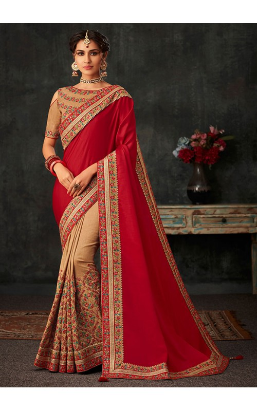 Beige and Red Embroidered Art Silk Saree