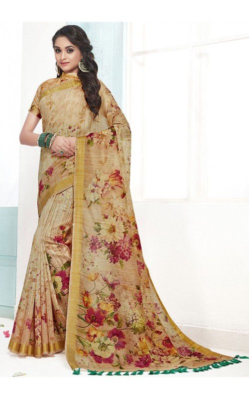 Beige Digital Print Saree