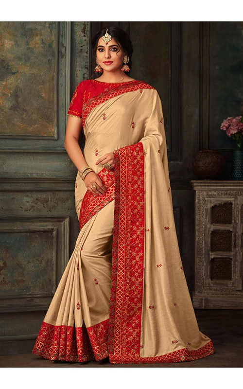 Beige Embroidered Art Silk Saree