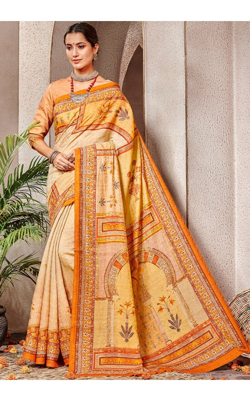 Beige and Yellow Pure Banarasi Silk Saree
