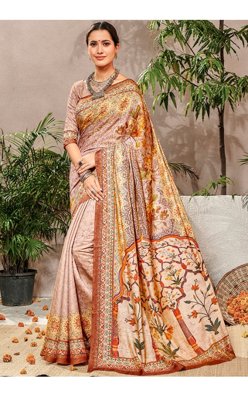 Beige Pure Banarasi Silk Saree