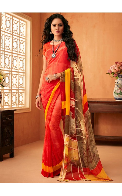 Coral Red Georgette Casual Saree