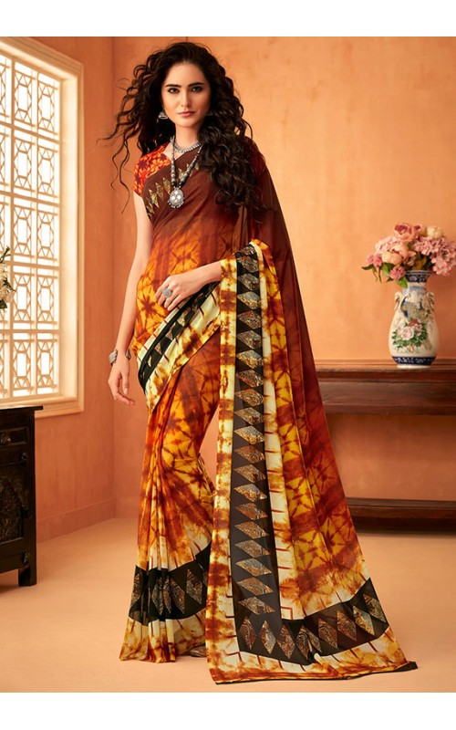 Brown Georgette Casual Saree